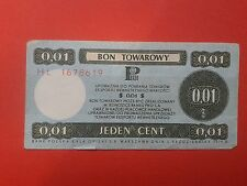 1. Poland - Bon towarowy Pekao 0,01$ - 1979