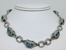 Vintage Art Deco Great Sterling Aqau & Paste Necklace & Bracelt In One (C477)