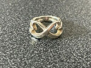 Tiffany & Co. Double Loving Heart Ring Sterling Silver Band Size 4.75
