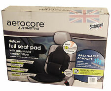 Car Padded Full Back Support Seat Pad - Adjustable Thick Foam + Lumbar Pillow