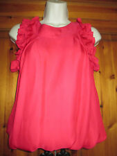 River Island Red Satiny Sheen Ruffle / Frilly Short Sleeve Top Blouse Size 6