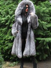 NEW LUXURY FULL PELT SAGA SILVER FOX FUR SWING COAT JACKET LARGE HOOD FUCHS  M