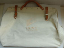 Sony Pictures Canvas Satchel Tote Bag Leather Handles Overnight Case Duffle