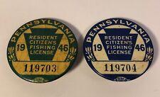 2 Vintage 1946 Pennsylvania Resident Fishing License Lot Pa