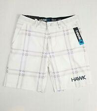 Tony Hawk Mens Reflex Stretch Shorts 32 Waist White Plaid Flat Front NWT