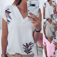 Women's Floral V Neck T-Shirts Short Sleeve Tops Summer Casual Loose Fit Tee