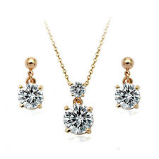 18K ROSE GOLD PLATED & GENUINE CUBIC ZIRCONIA CRYSTAL NECKLACE & EARRING SET