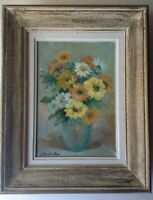 Beau Tableau Impressionniste  Bouquet Fleurs Champêtres Huile Signée BUCHAILLAT