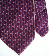 "Perry Ellis Men's Silk Geometric Neck Tie Red Navy Classic 3 7/8"" x 57 1/2"""