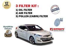 FOR HYUNDAI VELOSTER 1.6 TURBO + GDI 2011--> NEW OIL AIR POLLEN (3) FILTER KIT