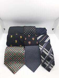 Mens Tie Bundle Job Lot x9 Mixed Sizes Colours Fabrics Art Craft Projects Darks