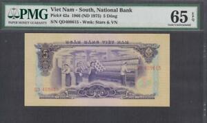 Vietnam South National Bank 5 Dong P-42 1966( ND 1975)  PMG 65 EPQ