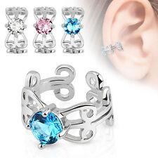 Ohrklemme Ear Cuff CZ Kristall Fake Ohrringe Rhodium Ohrstecker Ohrclip Ohrbügel