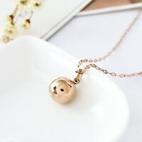 New 18K Rose Gold Filled Women 12MM Round Ball Beads pendant Charm Necklace Gift