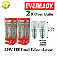 2 X Oven Bulb 300°C Cooker Appliance Rated Lamp Light 25W 240V SES E14 Eveready