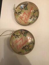 2 Glass Merry Chrismas Hanging Decorations