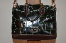 DOONEY & BOURKE Deep Green Brown Leather Cross Body Croc Embossed Satchel NWOT