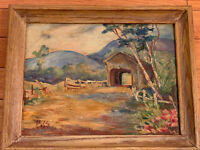 Vintage Colorful Impressionist Landscape Oil Painting on Canvas Signed 1957