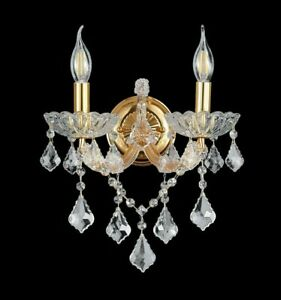 K9 Contemporary Crystal Two Candles Wall Light Chrome/Gold available & BULBs