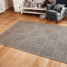 Checked Flatweave Kitchen Rugs Runners Anti Slip Back GEL Grey 160 X 225 Cm