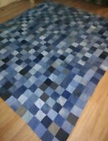 King Size Unfinished Jean/ Denim Upcycled Quilt Top 100x 113