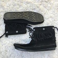 Minnetonka Black Suede Fringe Ankle Boots Moccasins Boho Festival Women's Sz 9.5