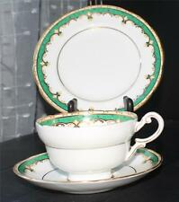 Vintage 30s PARAGON Bone China Emerald Green Pattern#G3295 Trio Cup Saucer Plate