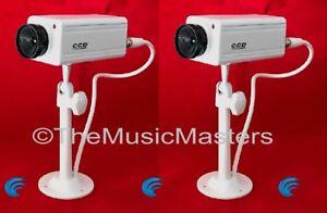 2X Fake Dummy Simulated Decoy SECURITY CAMERA Surveillance CCTV Red Flashing LED