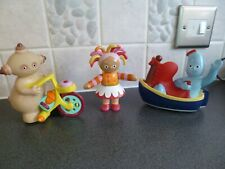 3 x In the Night Garden toys - 2 push along vehicles & clicking Upsy Daisy clean