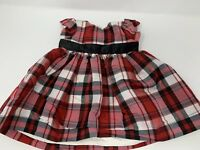 Carters Baby Girl Dress Holiday Christmas 3 Months Red Black Plaid Bow Xmas