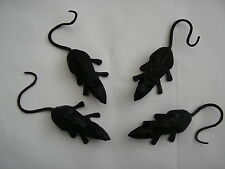 4 Halloween black scary rubber mice 4 cms x 1.5 cms inc tail
