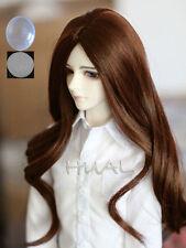 "6-7"" 1/6 BJD Brown Long Curly Wig LUTS Doll SD DZ DOD MSD Volks Soom Hair +Cap L"
