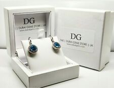 White gold finish blue topaz and created diamond round cut droplet earrings