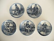 Set of 5 Porcelain Delfts Boch Belgium Blue & White Mini Dish Plate. Holland.