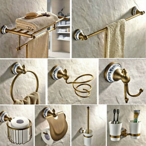 Antique Brass Porcelain Base Bath Hardware Sets Bathroom Accessories Wall Mount