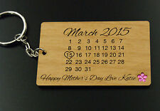 Personalised Real Wood Calendar Keyring Fathers Day / Mothers Day