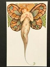 repro vintage postcard BUTTERFLY FAIRY WINGS gold lady Pleiades Press p201 NOS