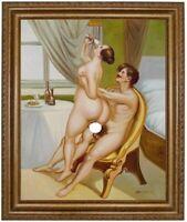 Ölbild Liebesakt, Akte, nackte Frau, Peter Fendi, Ölgemälde HANDGEMALT 50x60cm