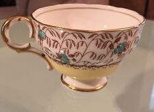 Melba English Bone China H199 Blue Wild Flowers w/ Yellow Band Gold Trim Tea Cup