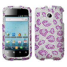 For Huawei T-Mobile Prism U8651T Crystal BLING Case Phone Cover Purple Cheetah