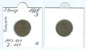 Preussen 2 Pfenninge 1868 B  stempelglanz