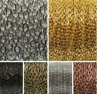 5M Silver Golden Plated Cable Open Link Iron Metal Chain Findings 6 Colors