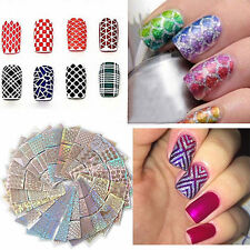 24 Sheets Nail Art Vinyl Stencil Guide Sticker Manicure Stencil Hollow Nail Art