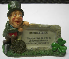 IRELAND FINNIAN LEPRECHAUN IRISH BLESSING MAY YOU LIVE AS LONG PLAQUE