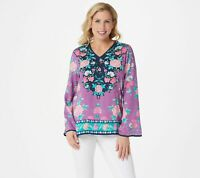 Tolani Women's Medium Purple Collection V-Neck Floral Printed Woven Top
