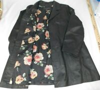 Ladies Womens Centigrade Genuine Leather Coat Jacket w/ Floral Lining L BLACK