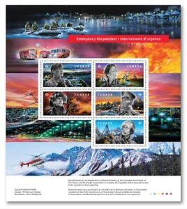 2018 CANADA 📭  EMERGENCY RESPONDERS 👨✈️🏆👨🚒 SOUVENIR SHEET 5 Stamps 📬