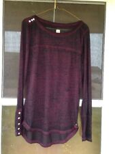 Jag Jeans Women's Boat Neck Drop Tail Top Burgundy and Black Marbled Small L@@K!