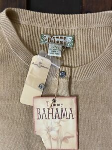 NEW Tommy Bahama Cotton Cardigan Sweater Small Extra Buttons Classic NWT