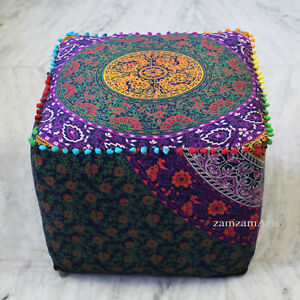 """22"""" Square Ottoman Pouf Cover Indian Mandala Floral Footstool Seat Covers Throw"""